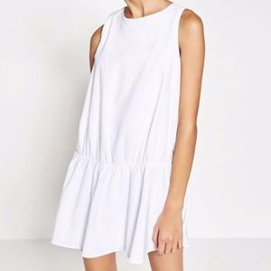 Zara White Full Skirt Sleeveless Jumpsuit